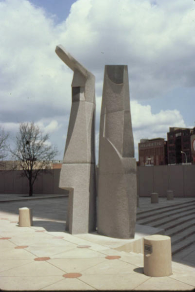 Bishop's Triad, Dallas Center, Dallas, TX, 1985, mixed granites, 24' high