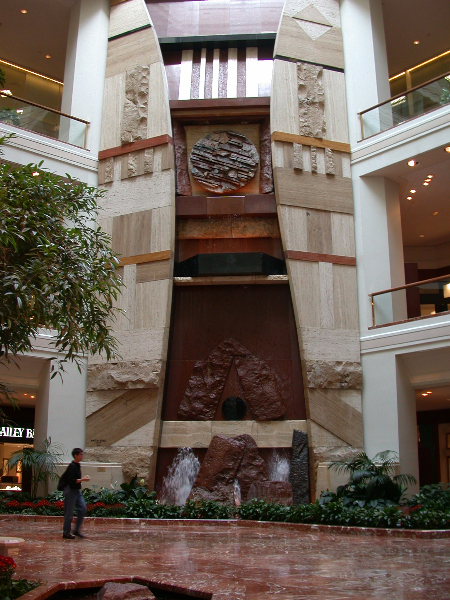 Fountain, Copley Place, Boston, MA, 1984, granite, travertine and marble, 60' high