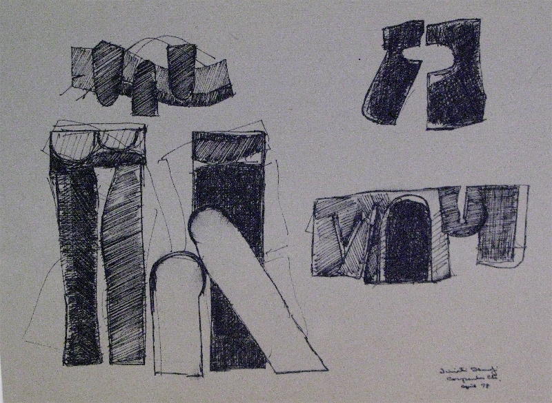 Sculpture Study, pen and ink on paper, 1978, 24 x 16 inches