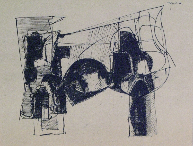Studies for Sculptures, pen and ink on paper