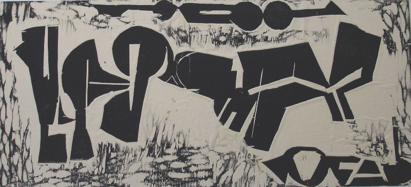 Forest Games, 2000, woodcut, 30 x 15 inches