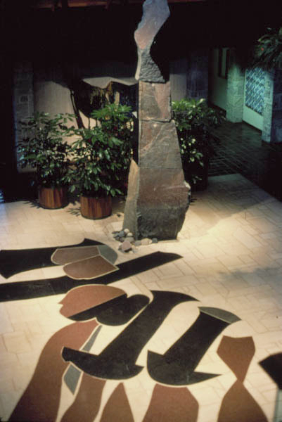Sculpture fountain, Johnson Wax, Racine, WI, 1979, basalt, granite