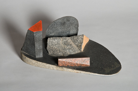 Landscape I, 1984, basalt & granite with gouache, 6 x 14 x 8 inches