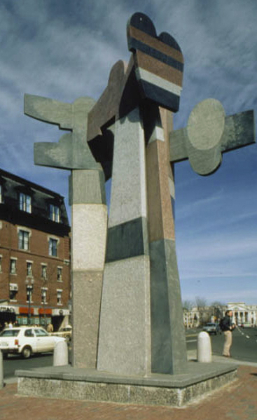 Omphalos, MBTA, Harvard Square, Cambridge, MA, 1985, mixed granites, 24' high