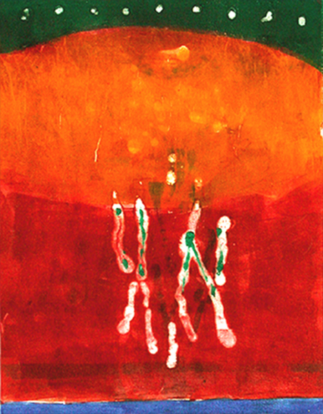 Red Dancers, 1990, monotype, 18 x 24 inches
