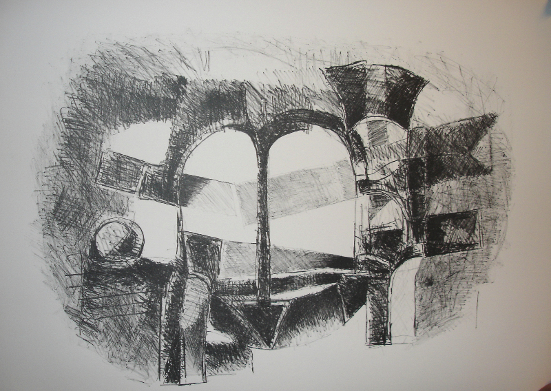 Sculpture Studies I, 1980s, etching, 36 x 24 inches
