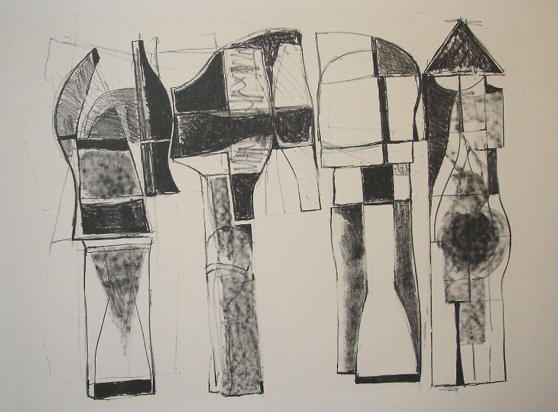 Studies for Sculptures, 1980s, etching, 36 x 24 inches
